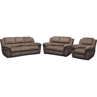 Aldo Power Reclining Sofa, Power Recliner, and Stationary Loveseat - Mocha