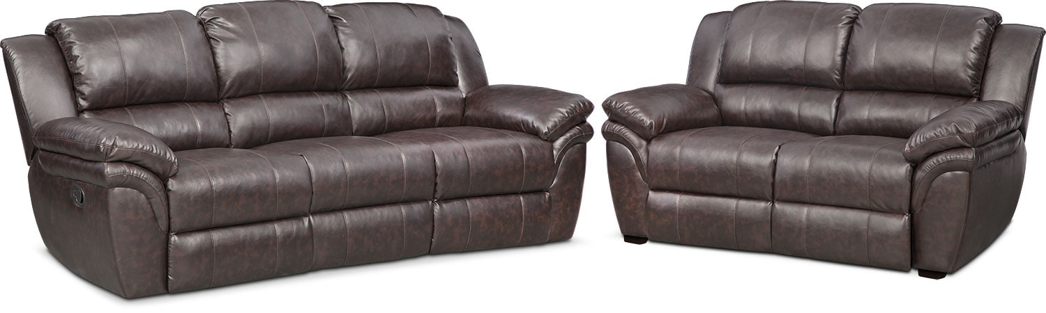 Living Room Furniture - Aldo Manual Reclining Sofa and Stationary Loveseat Set