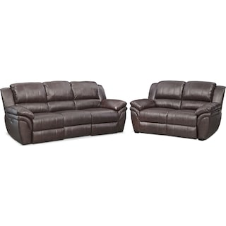 Aldo Power Reclining Sofa and Stationary Loveseat Set - Brown