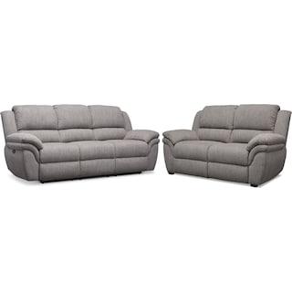 Aldo Power Reclining Sofa and Stationary Loveseat - Gray
