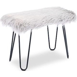 Mia Faux Fur Bench - Gray