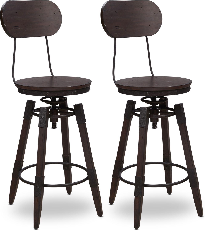 Dining Room Furniture - Archer Set of 2 Swivel Bar Stools