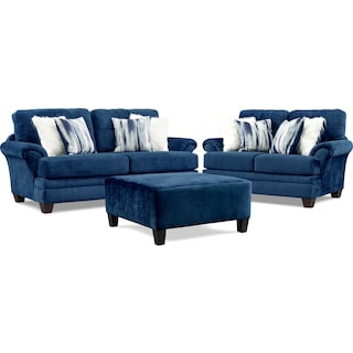 Cordelle Sofa, Loveseat and Ottoman - Blue