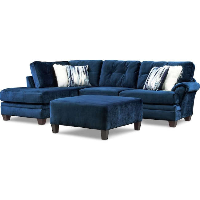 Living Room Furniture - Cordelle 2-Piece Sectional with Chaise, Faux Fur Pillows and Ottoman