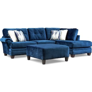 Cordelle 2-Piece Sectional with Right-Facing Chaise and Ottoman - Blue