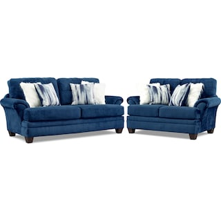 Cordelle Sofa and Loveseat Set - Blue