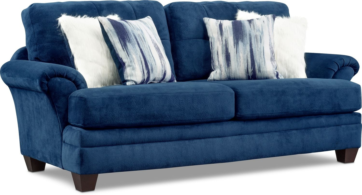 Living Room Furniture - Cordelle Sofa with Faux Fur Pillows