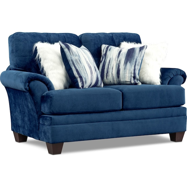 Living Room Furniture - Cordelle Loveseat with Faux Fur Pillows
