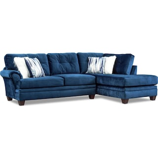Cordelle 2-Piece Sectional with Chaise and Faux Fur Pillows