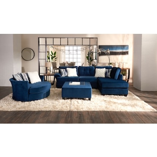 Cordelle 2-Piece Sectional with Right-Facing Chaise - Blue