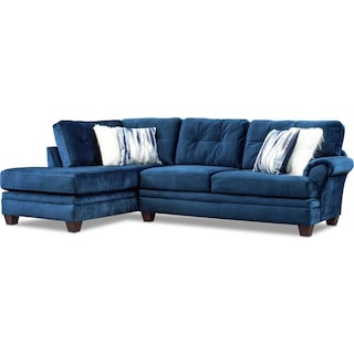 Cordelle 2-Piece Sectional with Left-Facing Chaise - Blue