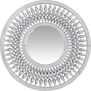 Round Crystal Spoke Wall Mirror