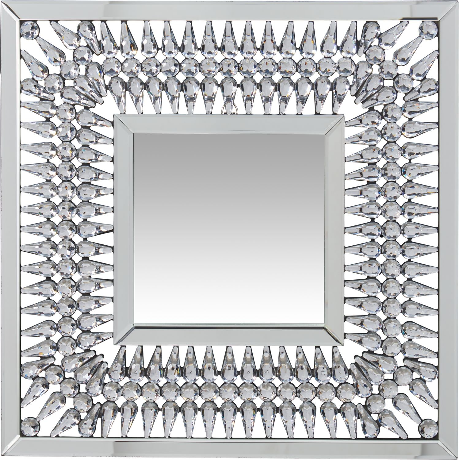 Home Accessories - Square Crystal Spoke Wall Mirror