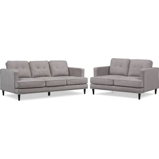 Parker Sofa and Loveseat Set - Gray