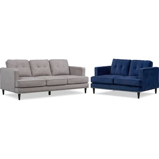 Parker Sofa and Loveseat Set - Gray and Indigo