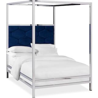 Concerto King Canopy Bed - Blue Velvet