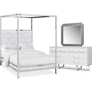 Concerto 5-Piece King Canopy Bedroom Set with Dresser and Mirror - White