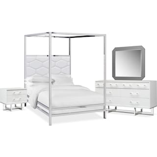 Concerto 6-Piece King Canopy Bedroom Set with Nightstand, Dresser and Mirror - White