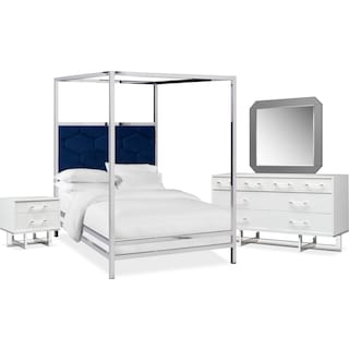Concerto 6-Piece King Canopy Bedroom Set with Nightstand, Dresser and Mirror - Blue Velvet