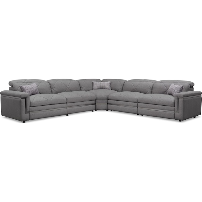 Living Room Furniture - Revel 5-Piece Dual-Power Reclining Sectional with 3 Reclining Seats