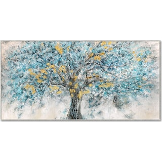 Blue and Gold Tree Wall Art