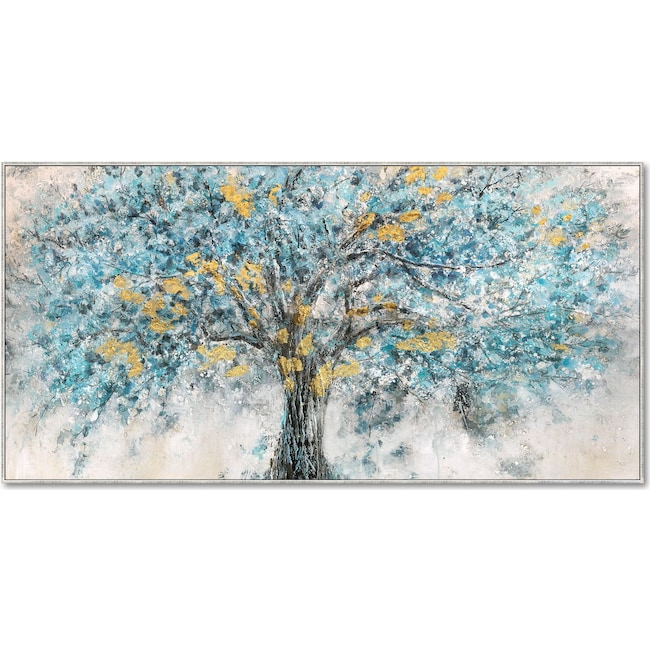 Home Accessories - Blue and Gold Tree Wall Art