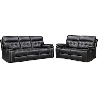 Brisco Power Reclining Sofa and Loveseat Set - Black