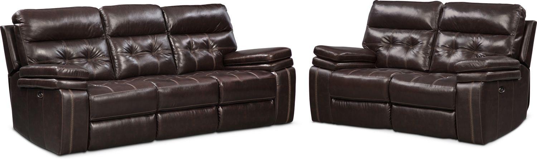 Living Room Furniture - Brisco Power Reclining Sofa and Loveseat Set