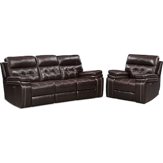 Brisco Power Reclining Sofa and Recliner Set - Brown