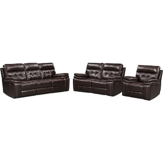 Brisco Power Reclining Sofa, Loveseat, and Recliner - Brown