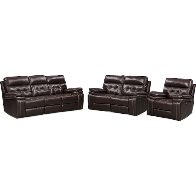 Living Room Furniture - Brisco Power Reclining Sofa, Loveseat, and Recliner