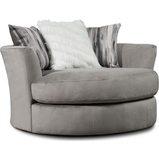 Cordelle Swivel Chair with Faux Fur Pillows