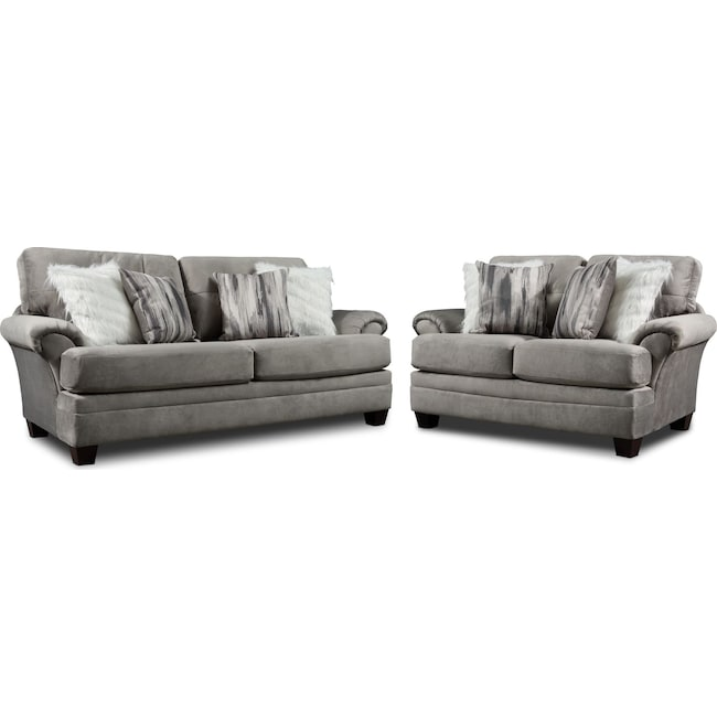 Living Room Furniture - Cordelle Sofa and Loveseat Set with Faux Fur Pillows