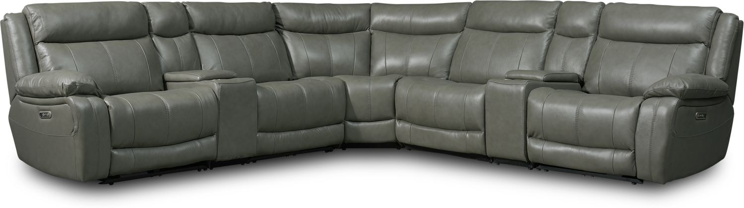 Living Room Furniture - Vince 7-Piece Dual-Power Reclining Sectional with 3 Reclining Seats