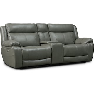 Vince 3-Piece Dual-Power Reclining Sofa with Console - Gray