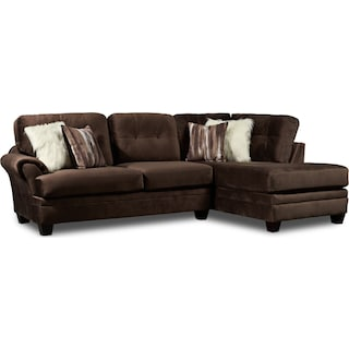 Cordelle 2-Piece Sectional with Right-Facing Chaise - Chocolate