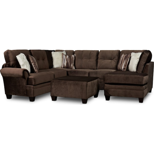 Living Room Furniture - Cordelle 3-Piece Sectional with Chaise and Ottoman with Faux Fur Pillows