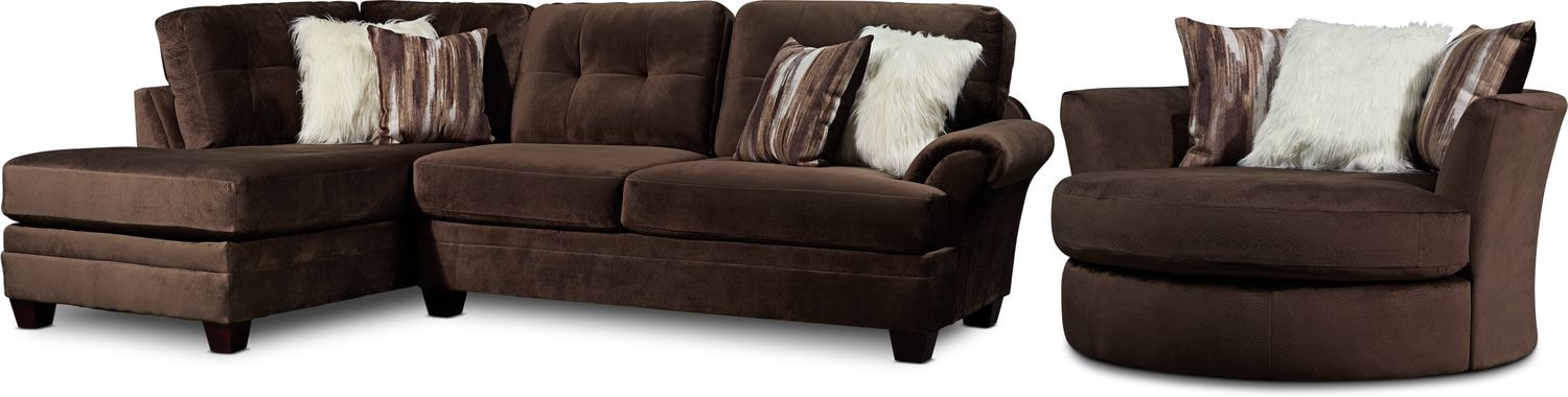 Living Room Furniture - Cordelle 2-Piece Sectional with Chaise and Swivel Chair Set with Faux Fur Pillows