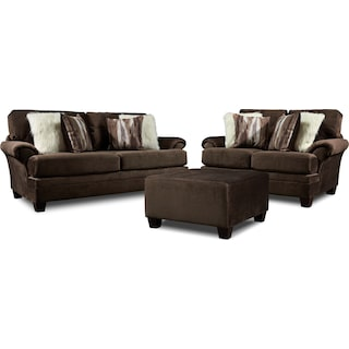 Cordelle Sofa, Loveseat and Ottoman - Chocolate