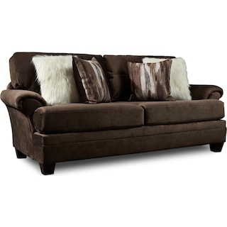 Cordelle Sofa, Loveseat, and Ottoman with Faux Fur Pillows