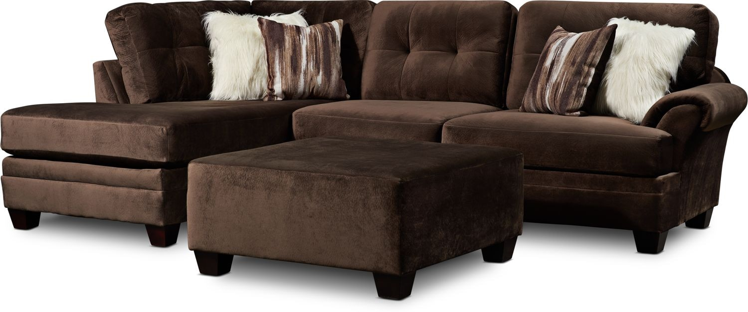 Living Room Furniture - Cordelle 2-Piece Sectional with Chaise, Faux Fur Pillows + FREE OTTOMAN