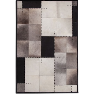 Rhys 8' x 10' Area Rug - Black and Ivory