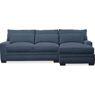 Winston Performance Comfort 2-Piece Sectional with Right-Facing Chaise - Peyton Navy