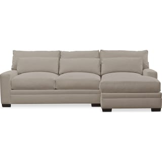 Winston Performance Comfort 2-Piece Sectional with Right-Facing Chaise - Benavento Dove