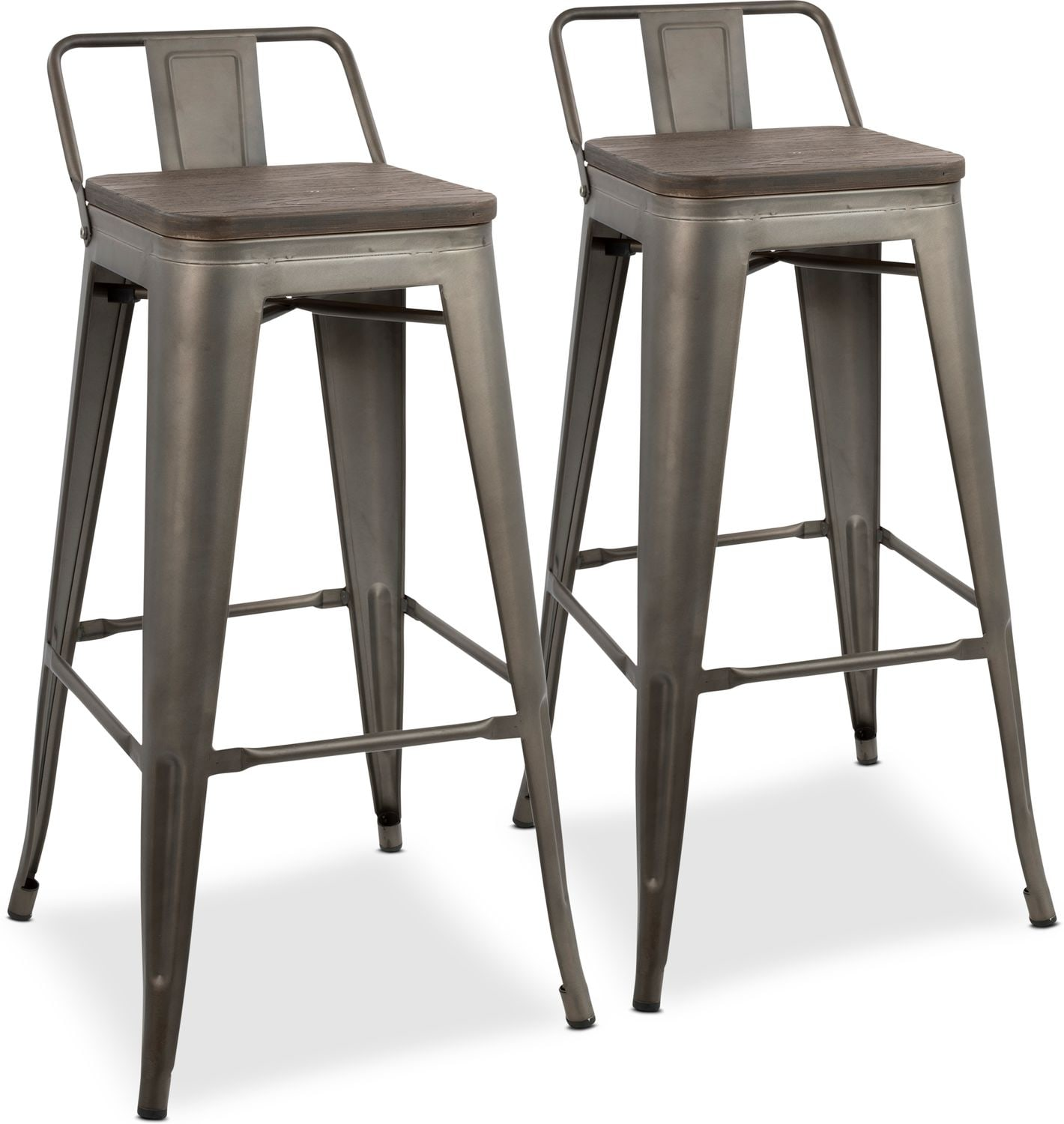 Dining Room Furniture - Dax Set of 2 Low Back Bar Stools