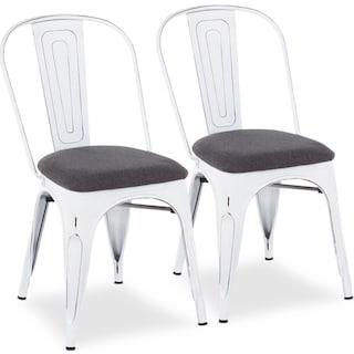 Dax Set of 2 Dining Chairs - Vintage White/Dark Gray