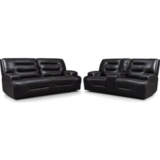 Preston Dual-Power Reclining Sofa and Loveseat Set - Black