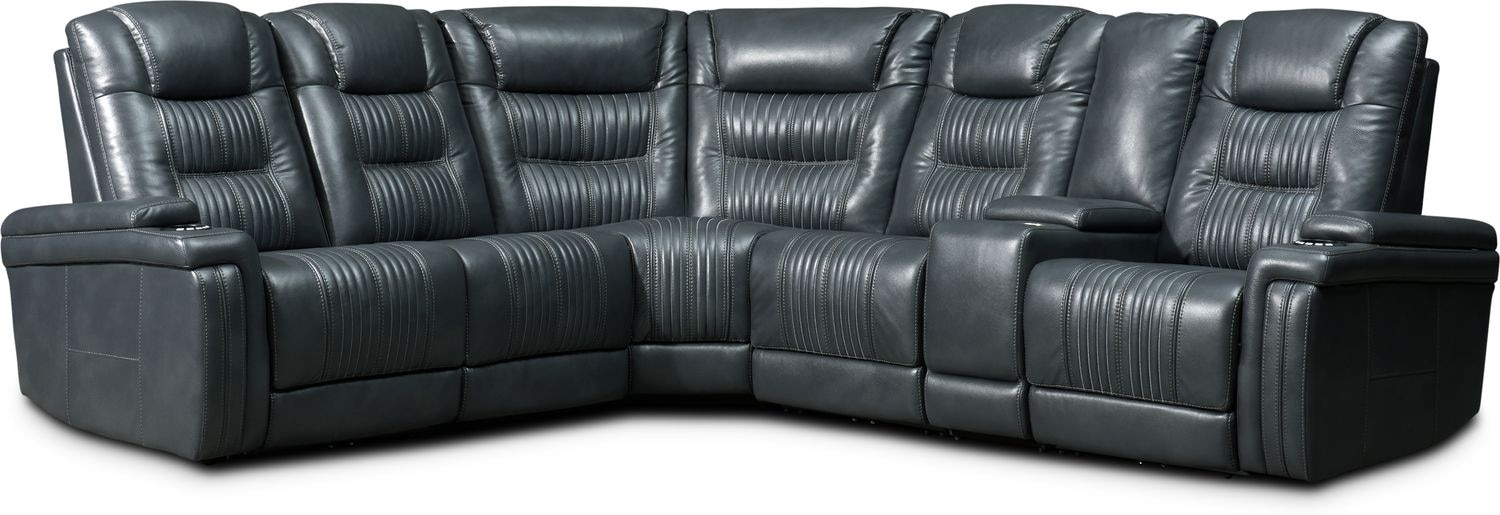 Living Room Furniture - Magnus 6-Piece Triple-Power Reclining Sectional with 3 Reclining Seats - Gray