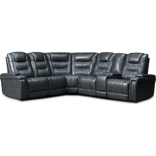 Magnus 6-Piece Triple-Power Reclining Sectional with 3 Reclining Seats - Gray