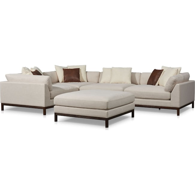 Living Room Furniture - Big Sur 4-Piece Sectional with Ottoman